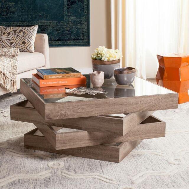 Coffee Table Square Glass Top Geometric Rustic Modern Wood Living Room  Furniture