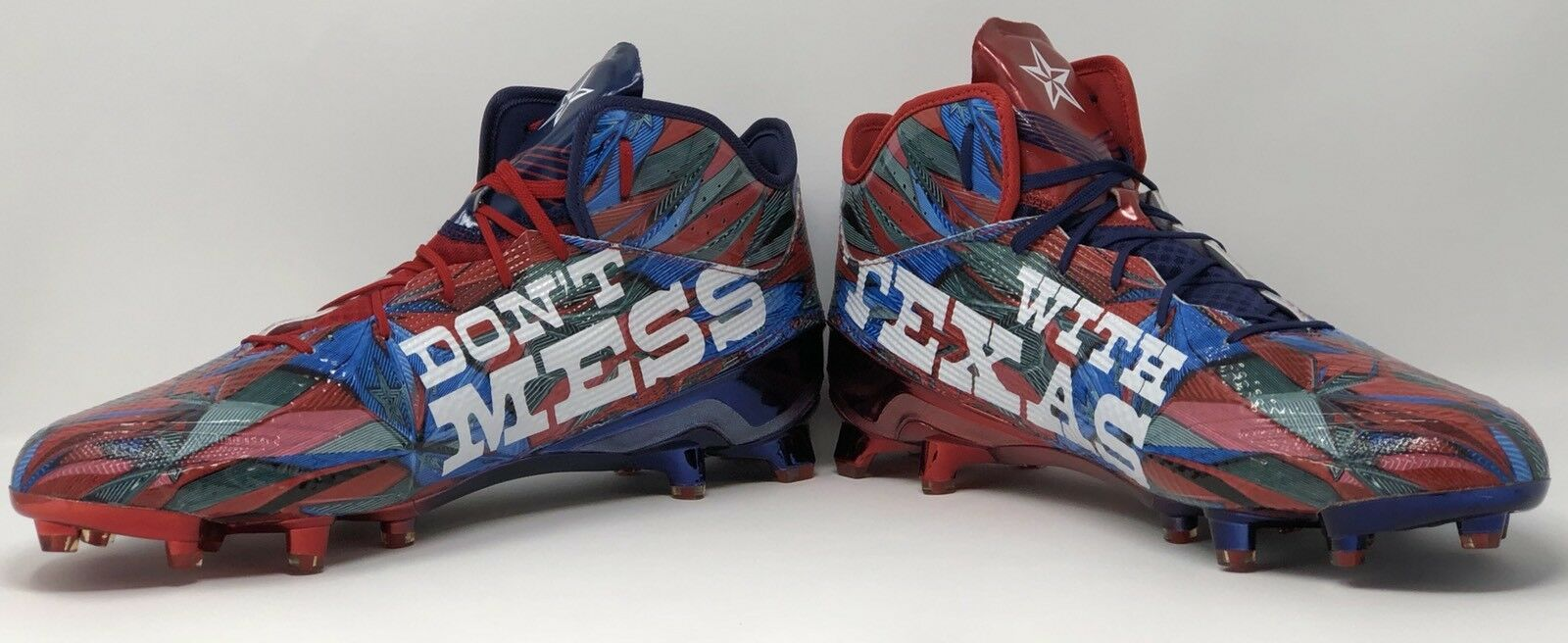 Adidas 5.0  Don't Mess With Texas  Football Cleat Red blueee Size 14 (B42741) NEW