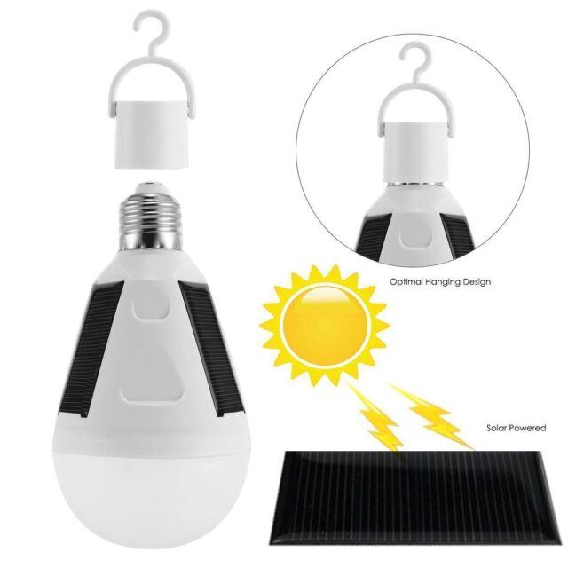 LED Solar Light Bulb 7W E27 Tent Camping Fishing Solar Lamp Rechargeable TB