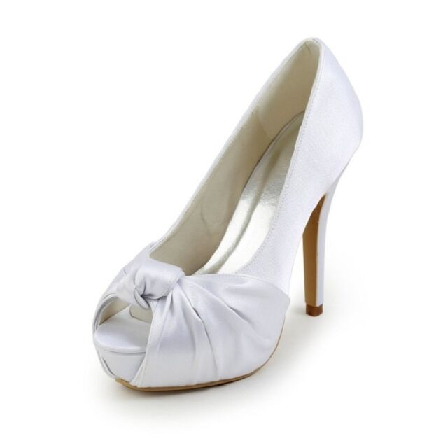 New Ivory White Satin Lace Bridal Womens Low High Heels Flats Wedding Shoes W265
