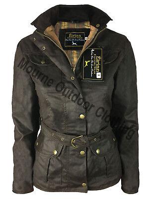 Femme Femmes Country Wear Belted Cire Veste Ciré Coton Imperméable Manteau Marron