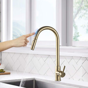 Details About Smart Touch Sensor Kitchen Faucet Pull Out Sprayer Swivel Spout Brushed Gold Tap