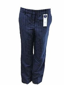 Charter-Club-Womens-Pants-Striped-Classic-Fit-Linen-Navy-white-Size-10