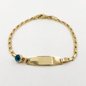 Kinder-Identitaets-Armband-aus-14-kt-Gold-mit-Schutzauge