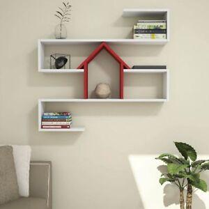 Details Sur Etagere Mural Nest Pour Salon Bureau Etagere Blanc Rouge Bois Homemania