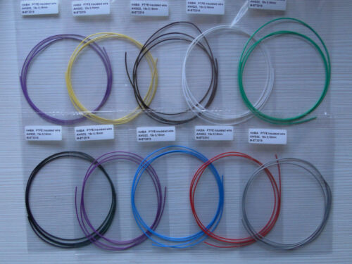10x 2meter HABIA AWG22 Teflon insulated multicore wires 10 colors
