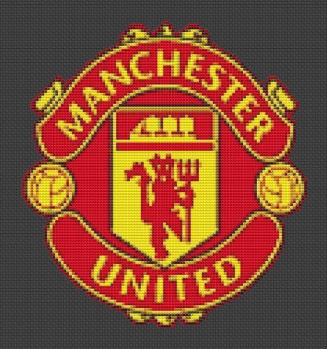 Manchester United cross stitch chart Manchester Punto De Cruz #02