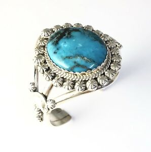 4f81aaee140 Image is loading Native-American-Sterling-Silver-Kingman-Turquoise-Navajo- Indian-