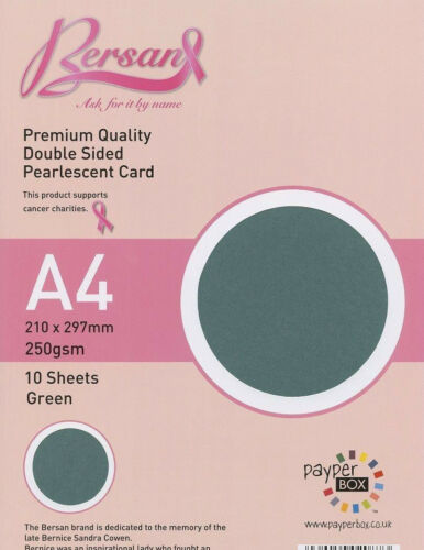 A4 double sided pearl card Green Payper Box Bersan Pearlescent 10