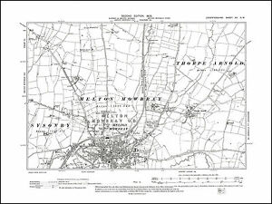 Melton Mowbray Thorpe Arnold in 1905 old map Leicestershire 20NW