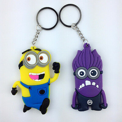 2X Despicable Me Evil Minion Purple Yellow Rubber Key Chain Ring Holder Keychain
