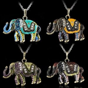 Vintage-Crystal-Cute-Animal-Elephant-Pendant-Women-Necklace-Long-Chain-Jewelry