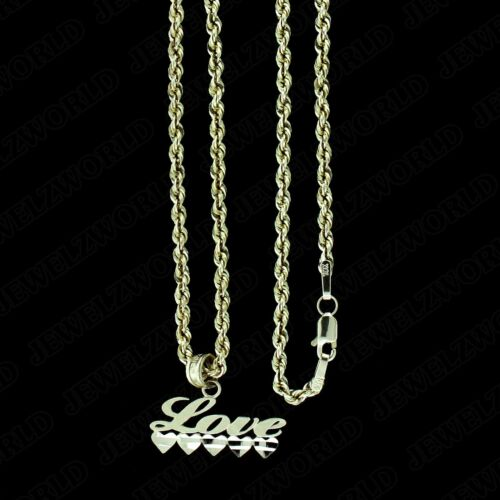 Real 10K Yellow Gold I Love You HEART Pendant With 2mm Rope Chain Necklace Set