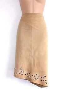 Women-039-s-Vintage-EQUATOR-Asymmetrical-Beige-Soft-100-Leather-Skirt-Size-M