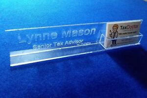 Personalized acrylic glass name plate bar desk with business card image is loading personalized acrylic glass name plate bar desk with colourmoves