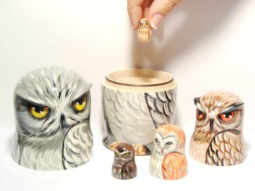 5 pieces Matryoshka 6,2 in. Nesting Dolls Owls