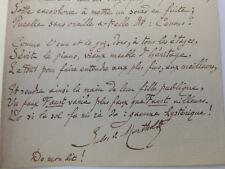 """JULES DE MARTHOLD / poème autographe """" ARTS D'AGREMENT """" ( 1847-1927)"""