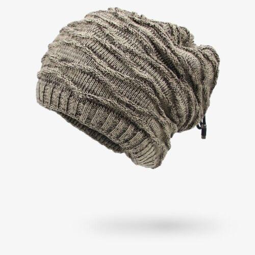 Dual Mens Women Winter Stretch Neck Warmer Knit Cap Slouchy Skull Beanie Hats