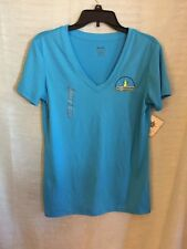REEBOK PLAY DRY Womens Snow Balls Blue Short Sleeve V-Neck Athletic Shirt Sz L