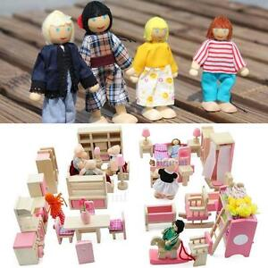 Wooden Furniture Dolls House Family Miniature 6 Room Set Dolls For Kids Child##B