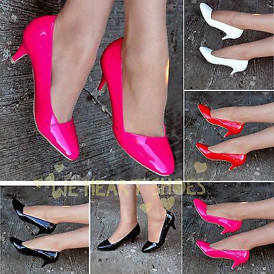 Ladies Patent Low heel Shoes Glossy PU pumps court heel Colourful Casual Uk size