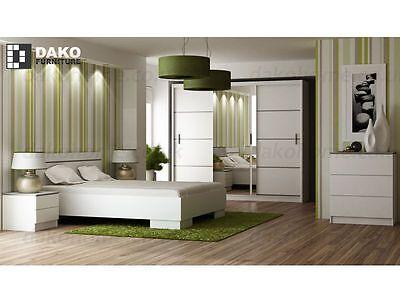 Bedroom Furniture set VISTA-W Wardrobe, Bed frame,Chest of drawers,bedside table
