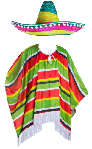 Adulte Ou Enfant Mexicain Déguisement Mexique Poncho Costume Hommes Femmes Garçons Filles