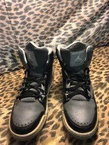 7ec3554f4fee Nike Air Jordan Flight Gray   Black Retro High Top Leather Shoe ...