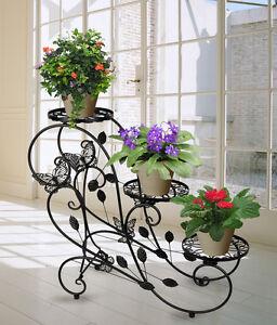 3 tier metal plant stand flower pot display shelf etagere for Etagere pour serre de jardin
