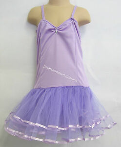 Fairy Dress Ballet Tutu Dance Costume Lilac 5 -7 Years Polyester Stretch Leotard