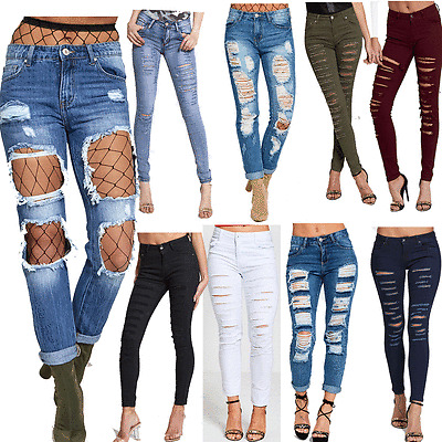 DIVADAMES Womens Ladies High Waisted Blue  Stretch DISTRESSED Skinny Fit Jeans