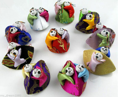 Wholesale 10pcs Embroidered Children Silk Earrings Ring Jewelry Bags Coin Boxes