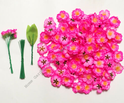 Artificial Fake Silk Flower Bright Pink Cherry Blossom Bonsai Kit Hoa Dao Tet