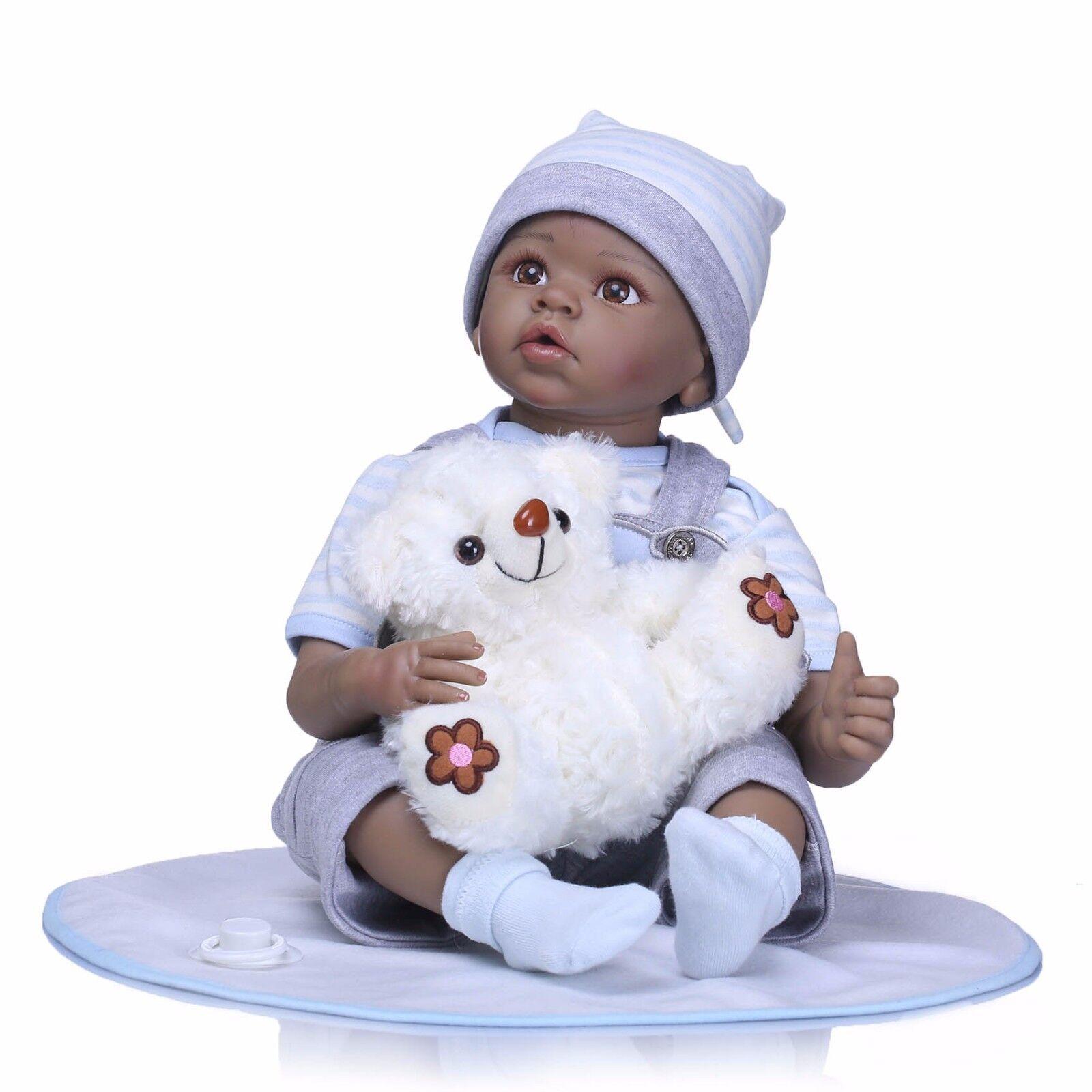 NUOVO 22  RINATO Baby Boy Doll Nero afroamericano ETNICO BI neonato giocattolo