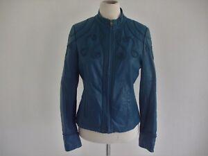 Blouson faux cuir femme bleu