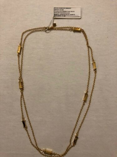 """rebecca minkoff 44"""" Cable Chain W// Spaced Rectangles Gold Or Silver"""