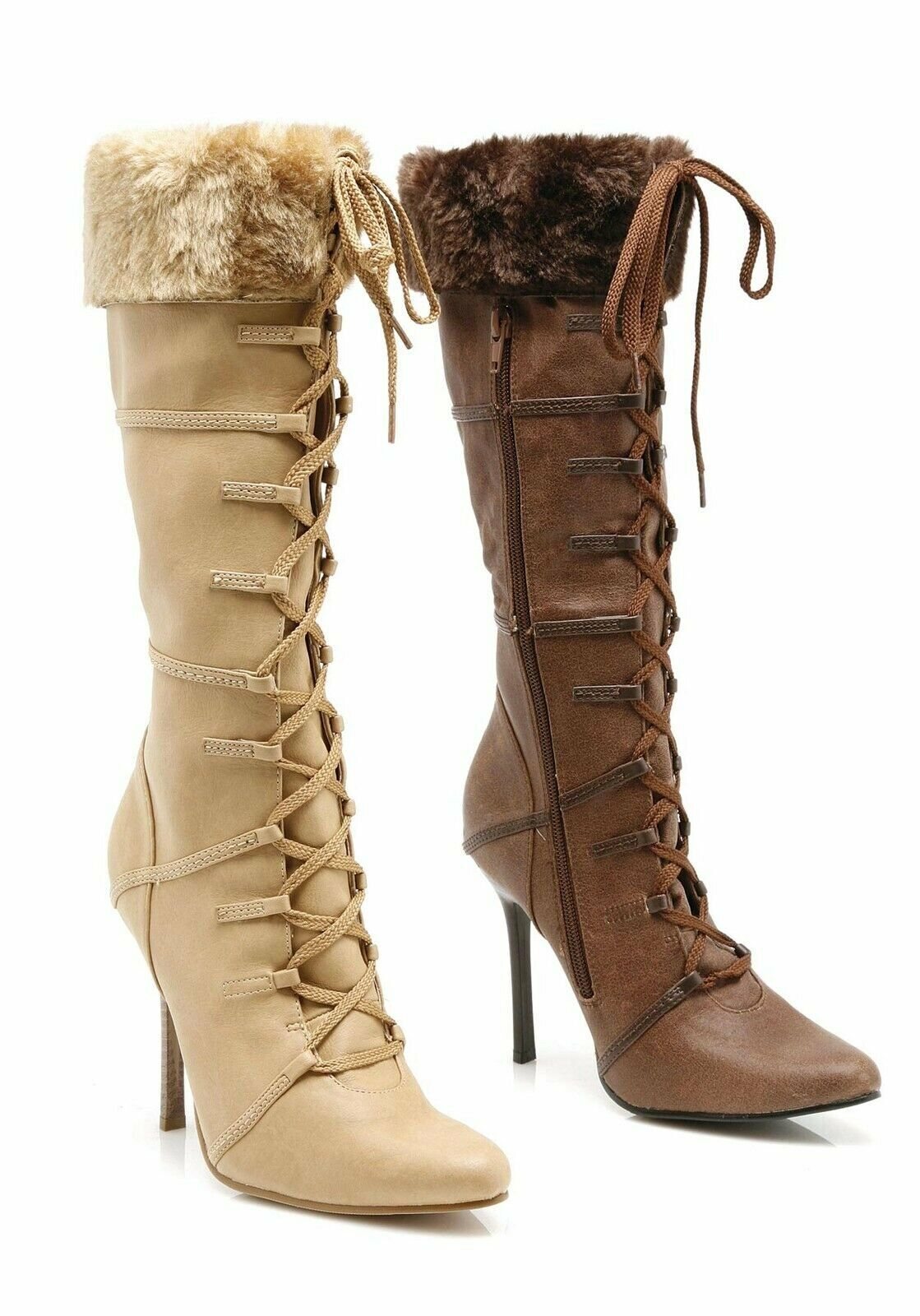 Ellie shoes 4'' Heel Knee High Boot Women's Size shoes With Stiletto Heel And Fur