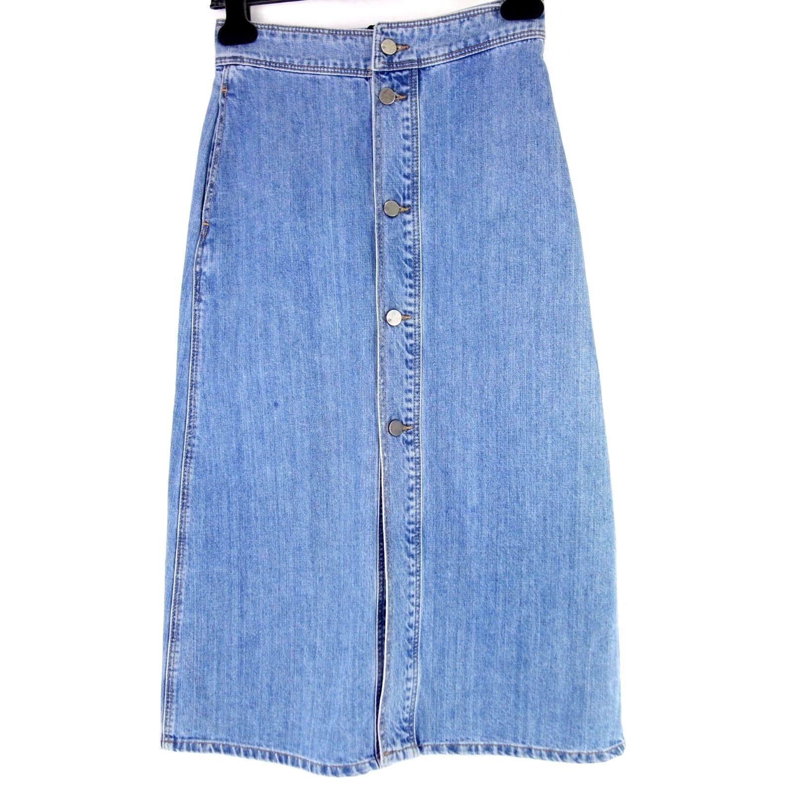 Set Ladies Skirt Gr 34 36 Cotton bluee Denim Mini Buttons Np 119 New