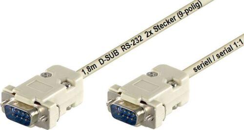 D-Sub Anschlusskabel 9 polig 2x D SUB Stecker  RS-232 seriell serial 1:1 grau