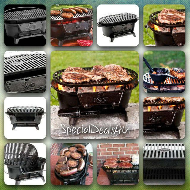 Lodge Pre Seasoned Cast Iron Grill Outdoor Camping Patio Yard Hibachi Tailgating