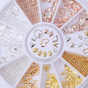 3d nagelsticker strass stud dekoration im rad rose gold silber niet dekoration ebay - Dekoration gold ...