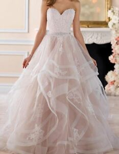 New-Champagne-Ruffles-Wedding-Dress-Beach-Bridal-Gown-With-belt-Custom-Size