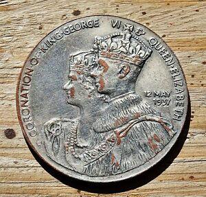 King-George-VI-amp-Queen-Elizabeth-Coronation-Silverplate-Medal-1937-20-grams
