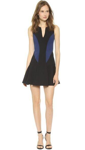 NEW schwarz Halo Nova Farbeblock Mini Navy Blau Sz 10 Dress