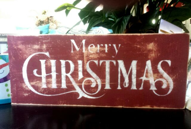 Primitive Christmas Sign MERRY CHRISTMAS Barn Red Old Distressed