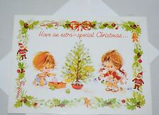 ELENA Cute Kids Urchins Unused Vintage Christmas greeting Card + Envelope C61