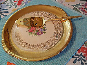 Vintage Golden Plate & Gold-plated Cake / Pie Server -- Paden City Plate