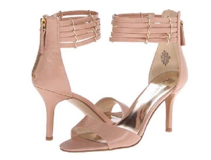 NINE WEST Ghadess 6 Natural Nude Beige bluesh Mid Heel Ankle Strap Dress Sandals