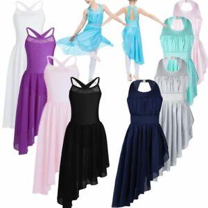 UK-Girls-Lyrical-Dance-Dress-Ballet-Gym-Dancewear-Halter-Leotard-Skirt-Costumes