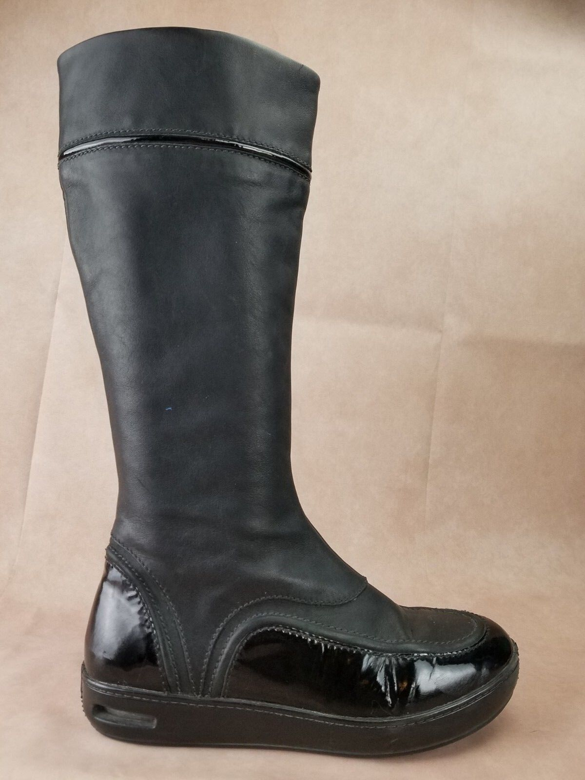 Cole Haan Womens Waterproof Knee Boots Size 7.5 Black Patent Leather Zip Up